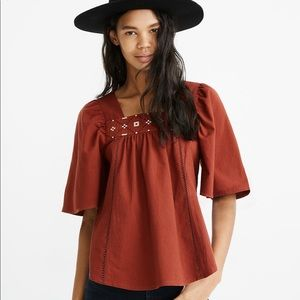 Madewell Burnt Orange Cross-Stitch Top